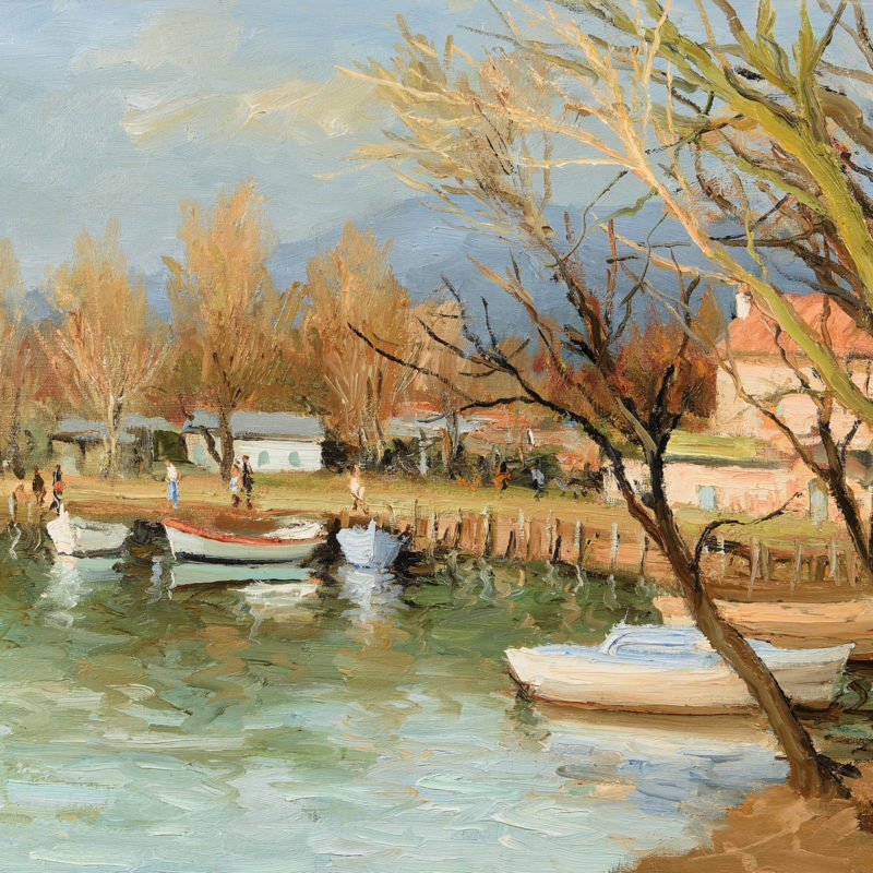 painting of small row boats resting along a riverbank with trees surrounding and a house