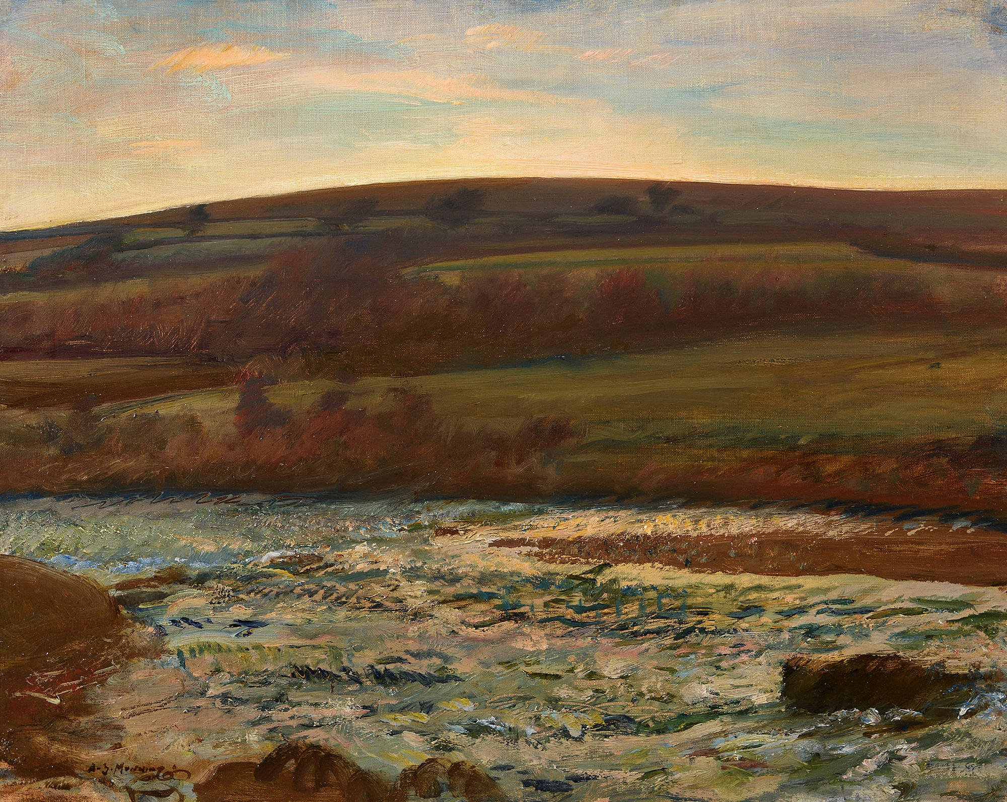 landscape painting of a river flowing beneath autumnal hills