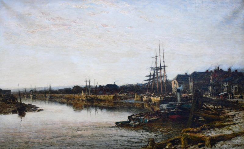 harbour scene with large ships to the right