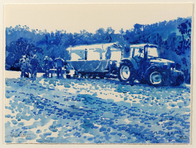 blue watercolour painting of a tractor in a field