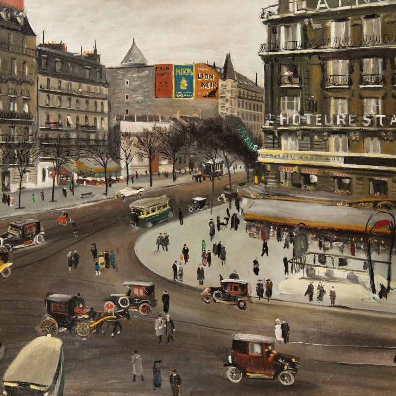 a busy paris street scene of intersecting roads