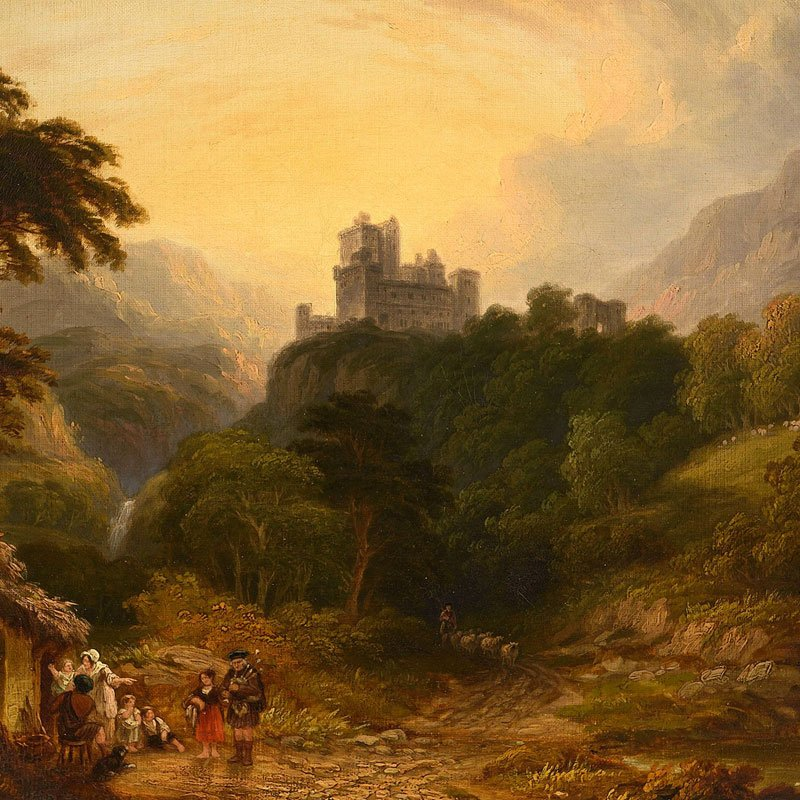 A highland scene with a castle on a hilltop and figures in the foreground by John Anthony Puller